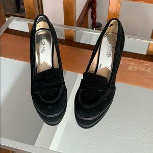 Michael Kors Black Loafer Wedge Heels